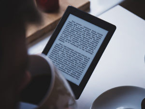 person reading an e-book