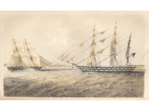 drawing or painting of two ships at sea