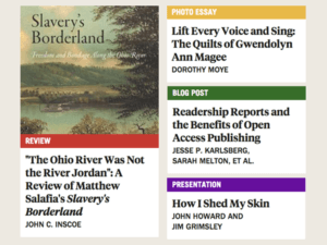 screenshot of website showing four article titles