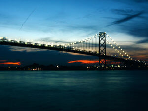 Ambassador Bridge at dawn or dusk