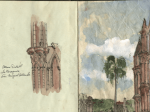 screenshot of architectural drawings by Sigrid Rupp from International Archive of Women in Architecture