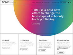 Screenshot of TOME home page