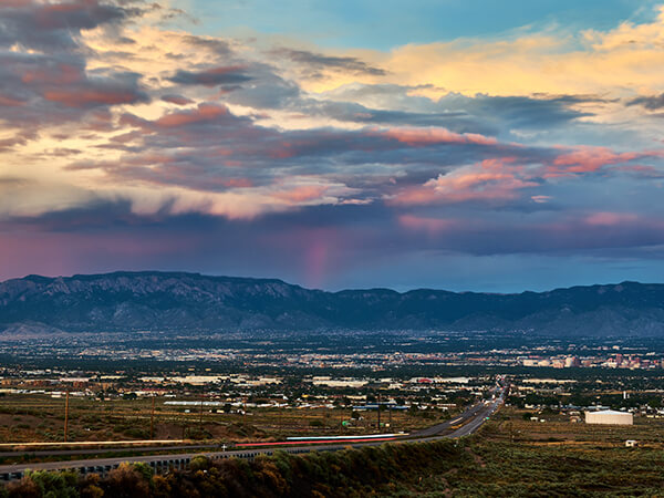 panoramic view of Albuquerque and Sandia Mountains