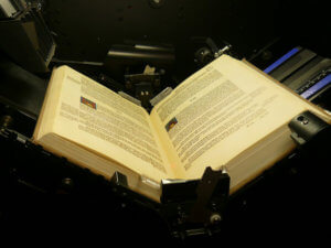 book-scanning machine with open book