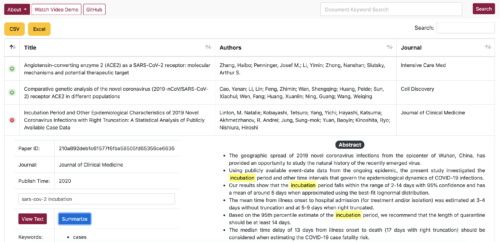 screenshot of ASU Library's COVID-19 research-browsing tool