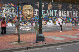 graffiti in Portland, Oregon, protesting racism and police brutality