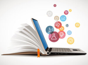 scholarly book-laptop amalgam graphic