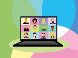 illustration of a laptop computer open with a video conference of 12 people on screen