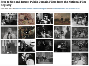 """screenshot of Library of Congress webpage that highlights """"Free to Use and Reuse: Public Domain Films from the National Film Registry"""""""